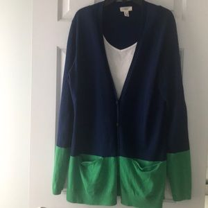 Lands End Cardigan Blue/Green Size M